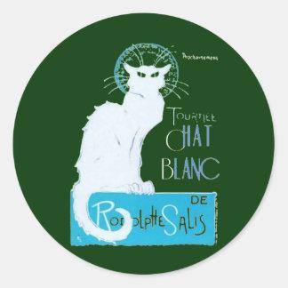 Le Chat Blanc Parody Of Le Chat Noir Classic Round Sticker
