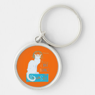 Le Chat Blanc Parody Of Le Chat Noir Silver-Colored Round Key Ring