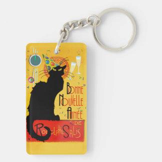 Le Chat Noir - Bonne Nouvelle Année Double-Sided Rectangular Acrylic Key Ring