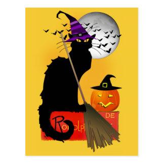 Le Chat Noir - Halloween Witch Cat Postcard