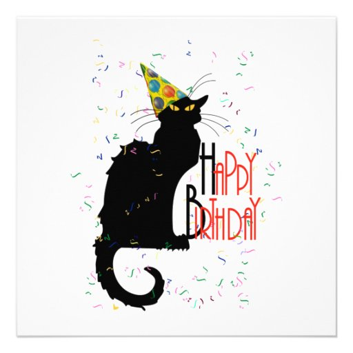 Le Chat Noir Happy Birthday Personalized Announcements
