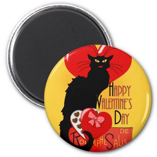 Le Chat Noir - Happy Valentine's Day 6 Cm Round Magnet