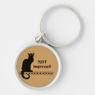 Le Chat Noir Not Impressed Silver-Colored Round Key Ring