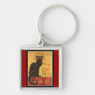 "LE CHAT NOIR PRINT (French for ""The Black Cat"") Key Ring"