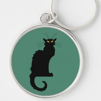 Le Chat Noir Silver-Colored Round Key Ring