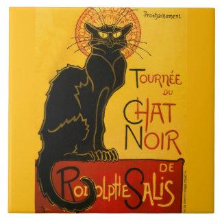 Le Chat Noir The Black Cat Art Nouveau Vintage Large Square Tile