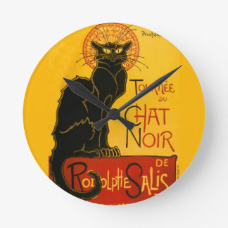 Le Chat Noir The Black Cat Art Nouveau Vintage Round Clock
