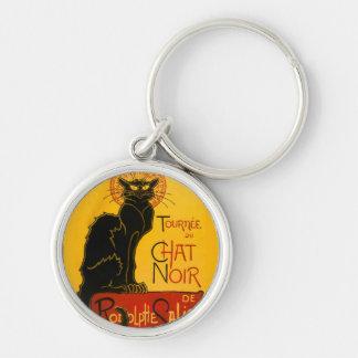 Le Chat Noir The Black Cat Art Nouveau Vintage Silver-Colored Round Key Ring