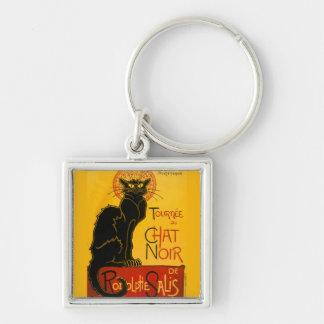 Le Chat Noir The Black Cat Art Nouveau Vintage Silver-Colored Square Key Ring