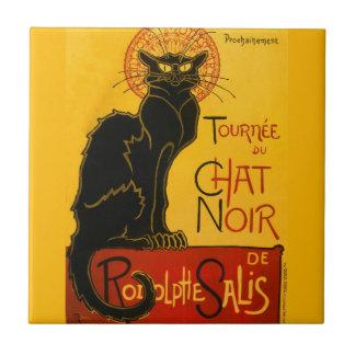 Le Chat Noir The Black Cat Art Nouveau Vintage Small Square Tile