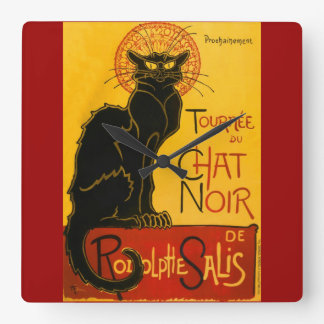 Le Chat Noir The Black Cat Art Nouveau Vintage Square Wall Clock