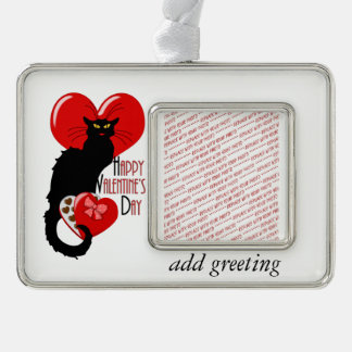 Le Chat Noir Valentine Silver Plated Framed Ornament
