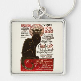 Le Chat Noir, Vente Hôtel Drouot Silver-Colored Square Key Ring