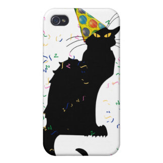 Le Chat Party Hat & Confetti iPhone 4/4S Cases