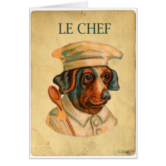 Le Chef Cooking Dog French Cook Greeting Card