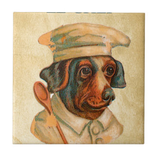 Le Chef Cooking Dog French Cook Ceramic Tiles