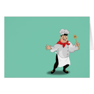 Le chef french cartoon kitchen cook art mustache card