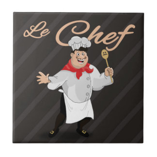 Le chef french cartoon kitchen cook art mustache small square tile