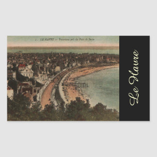 Le Havre Panorama France Postcard 1920s Rectangular Sticker