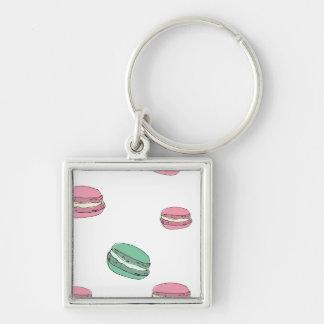 Le Macaron Silver-Colored Square Key Ring