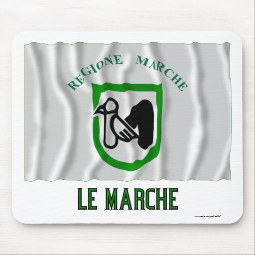 Le Marche waving flag with name Mouse Pads