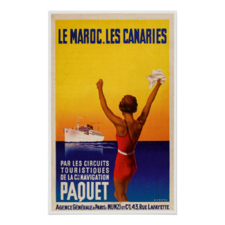 Le Maroc Les Canaries Vintage Ship Ad Poster