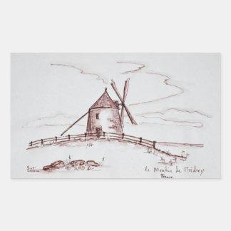 Le Moulin de Moidrey Windmill   Pontorson Rectangular Sticker