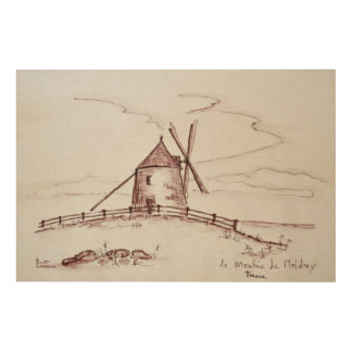 Le Moulin de Moidrey Windmill | Pontorson Wood Wall Decor
