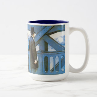 Le Pont de l'Europe by Gustave Caillebotte Two-Tone Coffee Mug