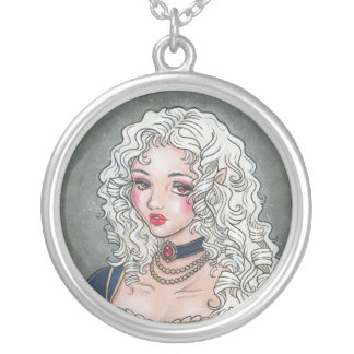 Le Portrait de la Vampiresse Round Necklace