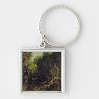 Le Puits-Noir, Doubs Silver-Colored Square Key Ring