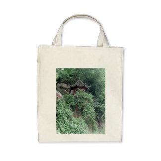 Le Shan Mountainside Buddhist Pavilion Canvas Bags