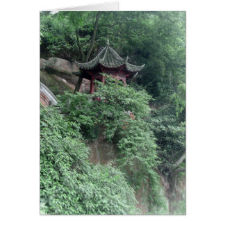 Le Shan Mountainside Buddhist Pavilion Greeting Card