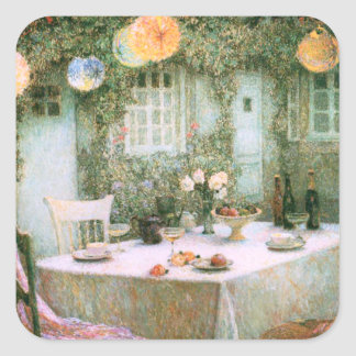 Le Sidaner: Table with Lanterns Square Sticker