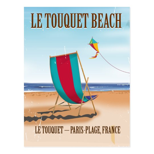Le Touquet Beach Vintage french travel poster Postcard