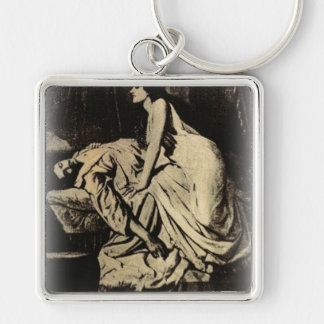Le Vampire by Burne-Jones 1897 Silver-Colored Square Key Ring