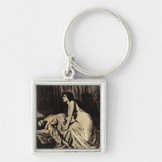 le Vampire Silver-Colored Square Key Ring