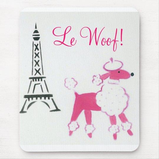 Le Woof! Pink Poodle in Paris Mouse Mat