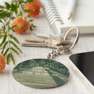 Lead Me Guide Me Walk beside Me Quote Basic Round Button Key Ring