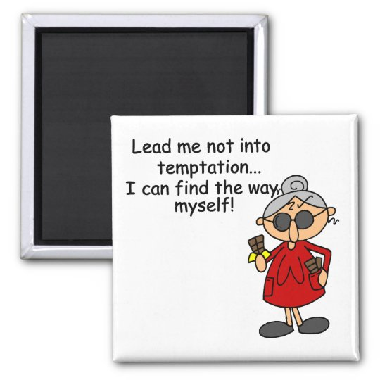 Lead Me Not Into Temptation Humour Square Magnet