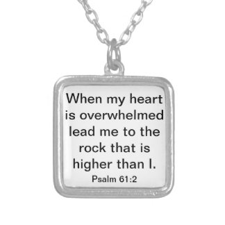 Lead me to the rock bible verse Psalm 61:2 Silver Plated Necklace