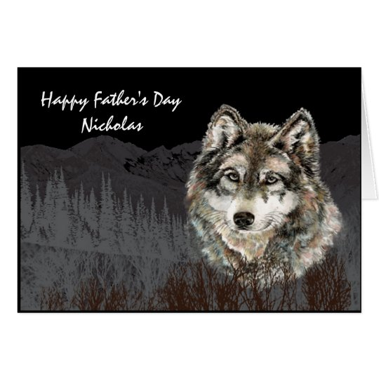 Leader of the Pack Father Custom Name Wolf Animal Card
