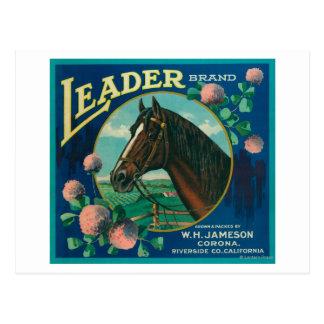Leader Orange LabelCorona, CA Postcard