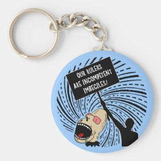 Leaders are incompetent imbeciles basic round button key ring