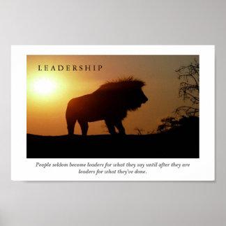 LEADERSHIP Motivational Lion Poster Print