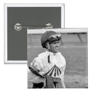 """""""Leading Rider at Saratoga"""" 2 Inch Square Button"""