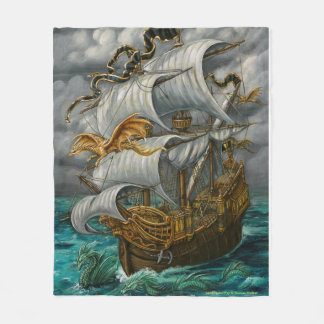 Leading the Way Dragons and Ship Fleece Blanket