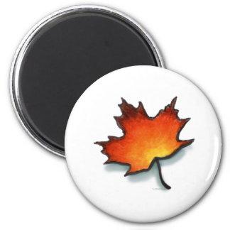 Leaf 6 Cm Round Magnet
