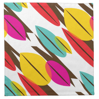 Leaf Abstract Retro Multicolored Pattern Napkin