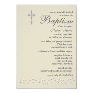 "Leaf Accents Baptism Invitation 5"" X 7"" Invitation Card"